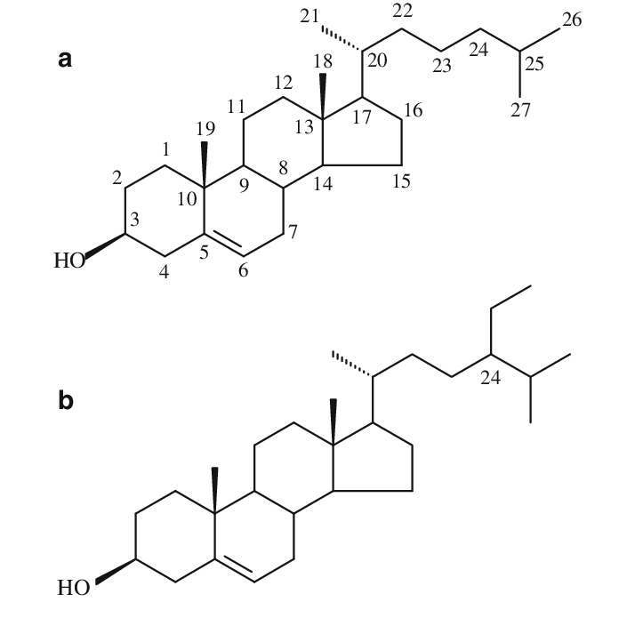 Structures of cholesterol (a) and b-sitosterol (b
