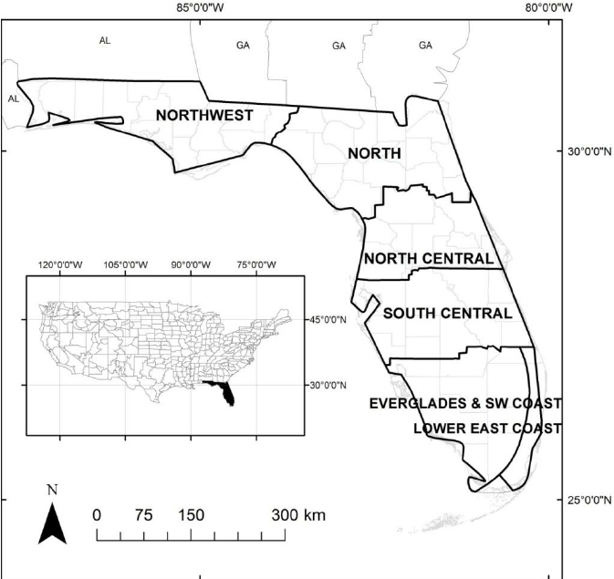 Study area map of the state of Florida with the climate