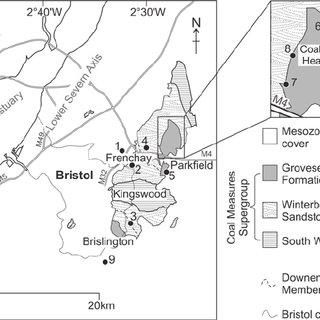 Geological map of the Bristol Coalfield, highlighting