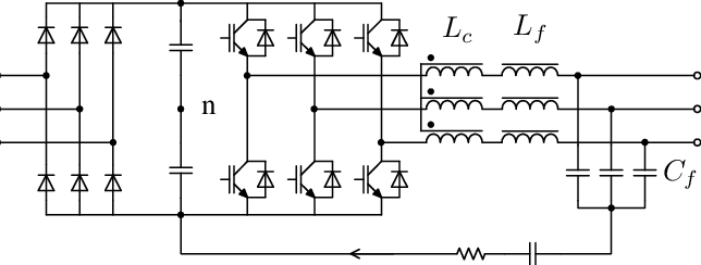 Circuit diagram of frequency converter and output filter