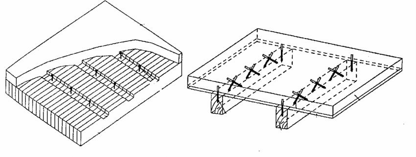 Timber-concrete composite floors: slab type floor (left