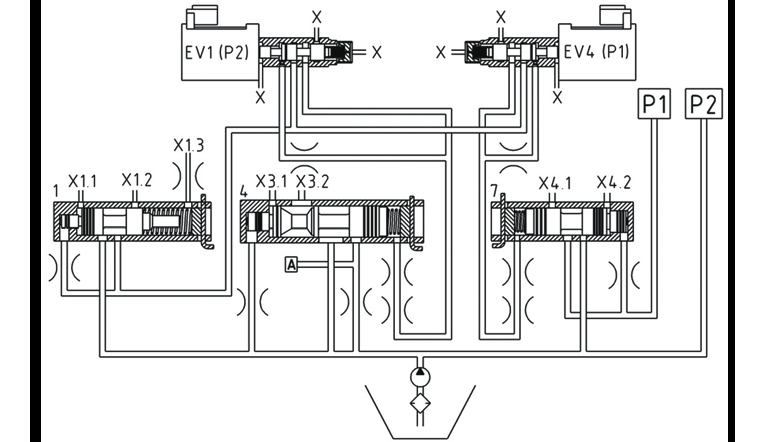 Circuit diagram of an electro-hydraulic controller