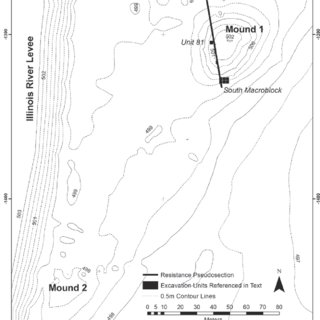 Ground-penetrating radar profile of Golden Eagle Mound 2
