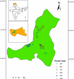 location of the study site plots of seven temperate forest types of kashmir himalaya india [ 850 x 1019 Pixel ]