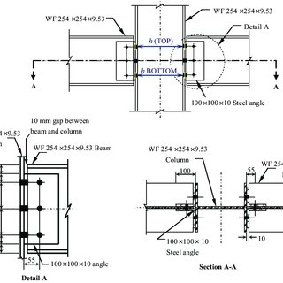 Connection details for beam-to-column joint tests with