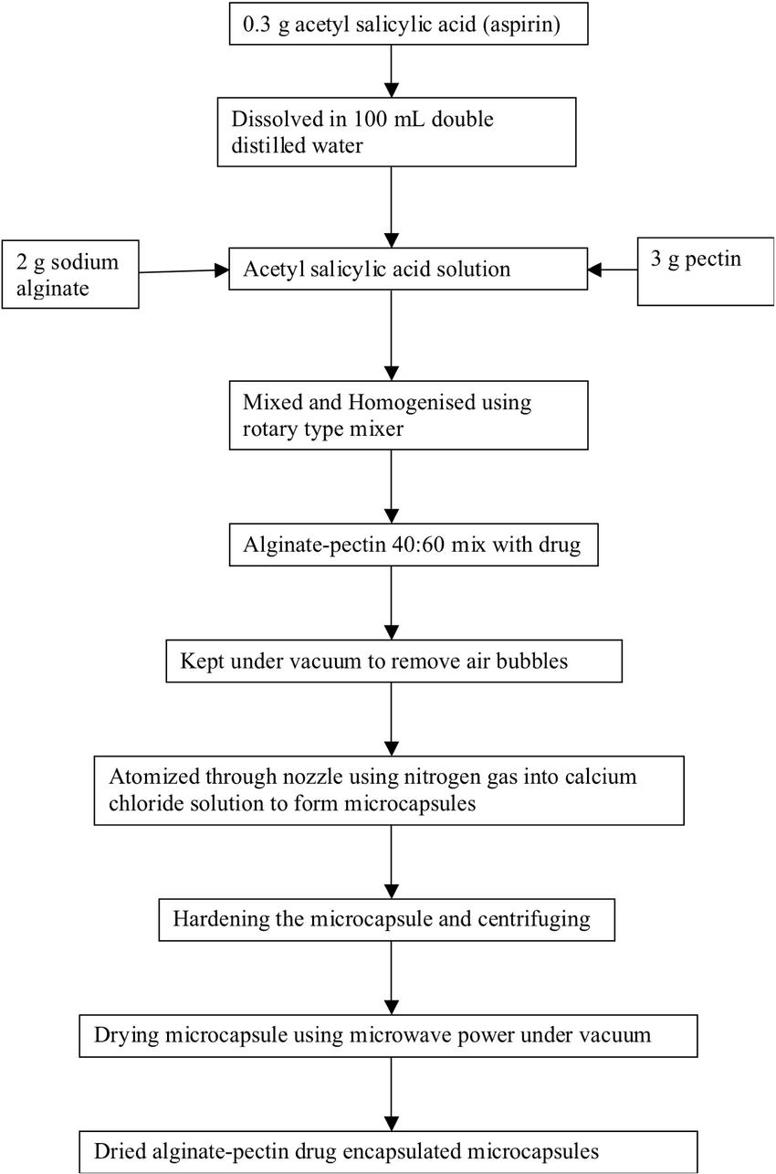 hight resolution of process flow diagram of alginate pectin microcapsule preparation