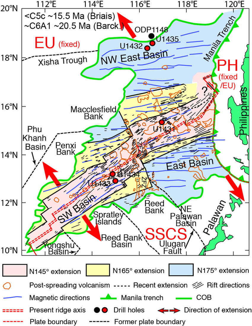 hight resolution of summary of observed seafloor spreading trends in the south china sea scs extracted from