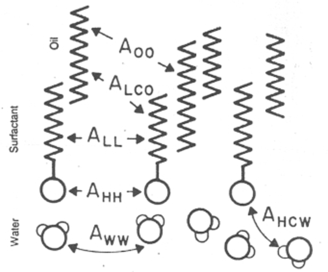 Sketch of the interactions between a surfactant adsorbed