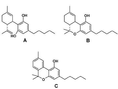 Structure of the three major cannabinoids. (A) CBD, (B) D