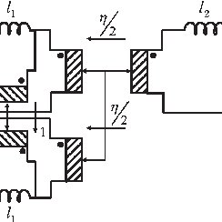 Commonly used equivalent circuit for a three-winding