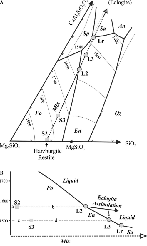 small resolution of  a liquidus phase diagram adapted from liu and presnall 1990 fo