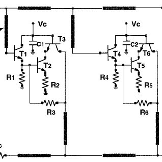 Circuit schematic of two-stage HBT distributed amplifier