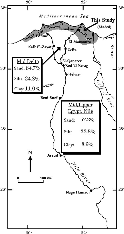 Map showing the Nile River in Egypt and study area (shaded