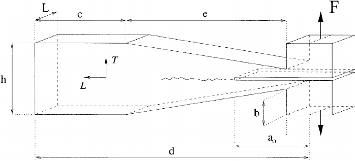Modified tapered double cantilever beam (TDCB) specimen