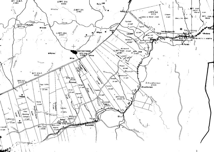 Central Tuli Block farm boundaries north east to the farms