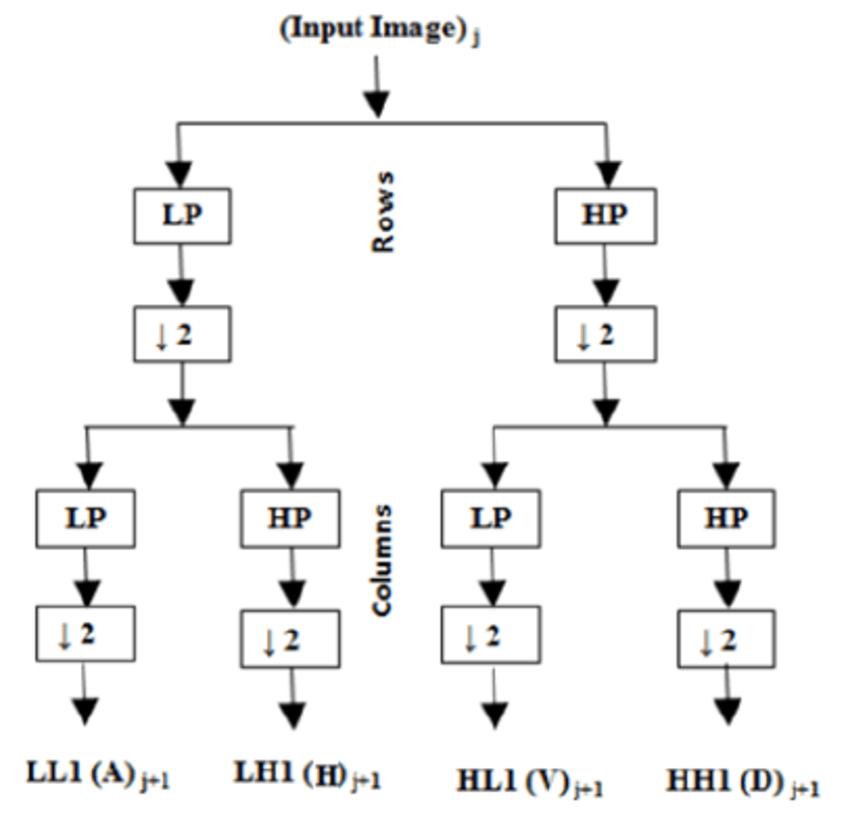 Wavelet decomposition (LP – Low pass filter, HP