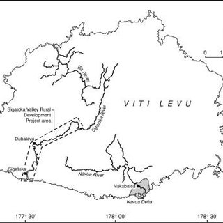 A map of the land forms of the Navua Delta showing the