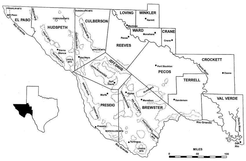 Schematic map of Trans-Pecos mountain ranges with a ★ at