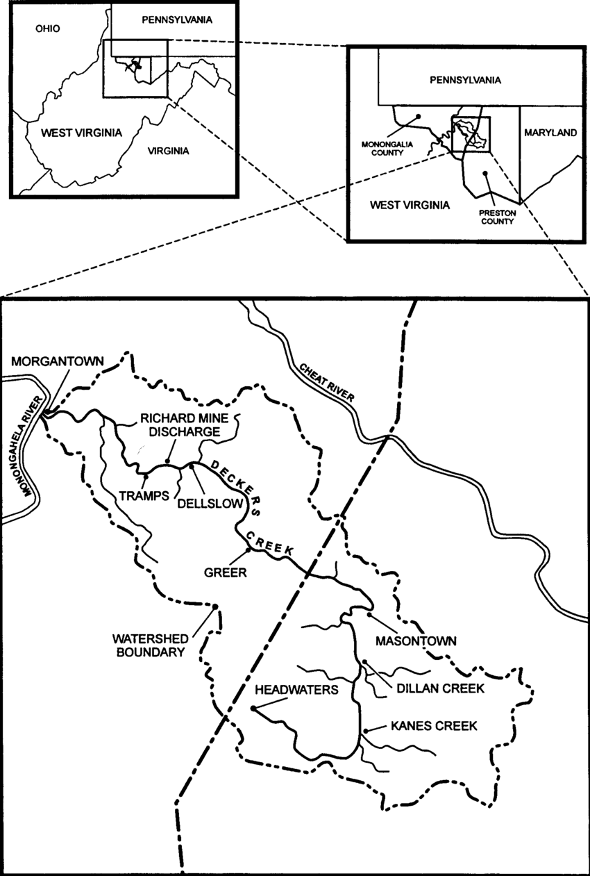 The Deckers Creek watershed, located in northern West