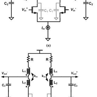 Equivalent circuit schematics of (a) shunt-peaked, (b