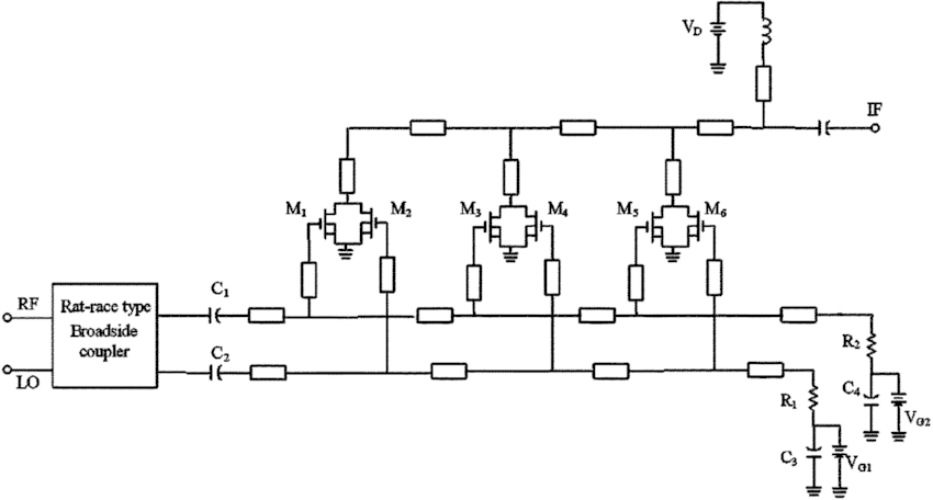 Circuit schematic of the distributed sub-harmonic mixer