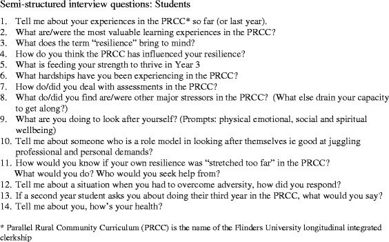 Semi-structured interview questions for students