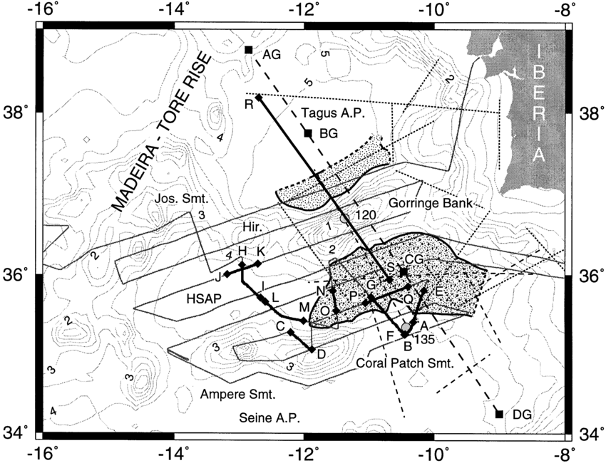 Map showing ship tracks (grey lines) of RRS Charles Darwin