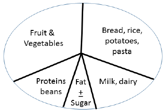 The pie or plate design illustrates the British Food Chart