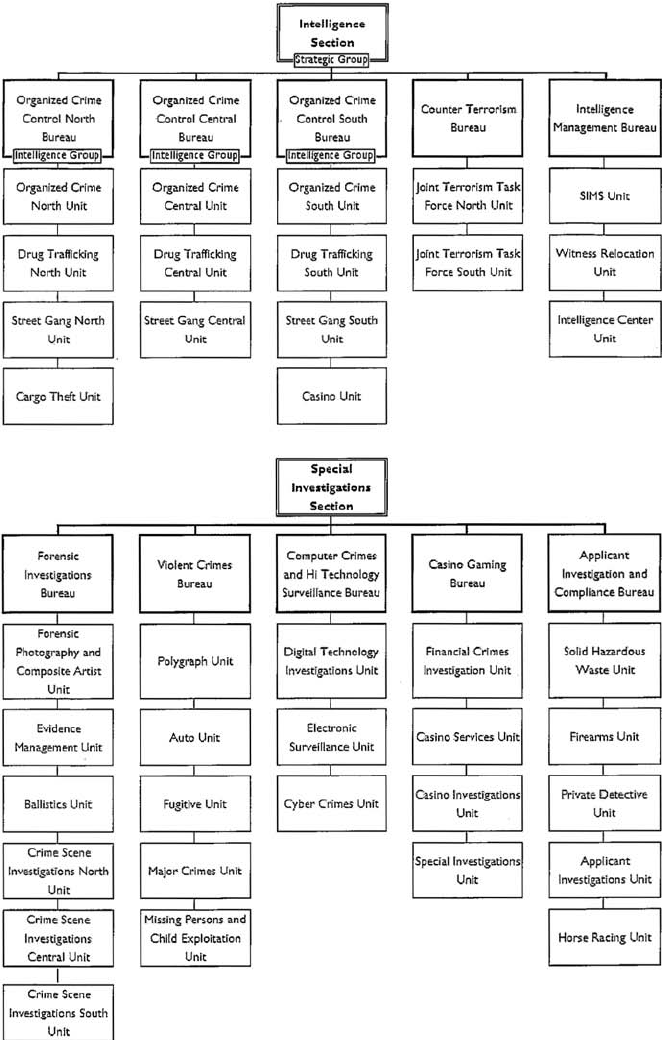 Organizational chart of the NJSP investigations branch