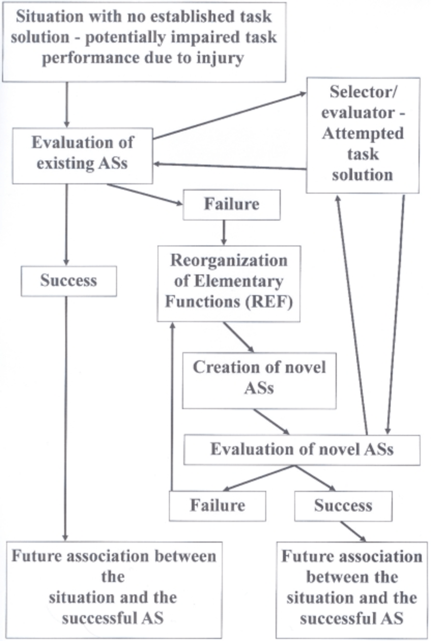 hight resolution of flow diagram depicting the sequence of events which according to the ref model leads