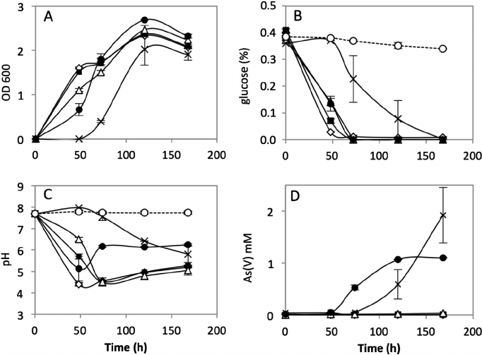 Time evolution of (A) bacterial growth at OD 600nm , (B