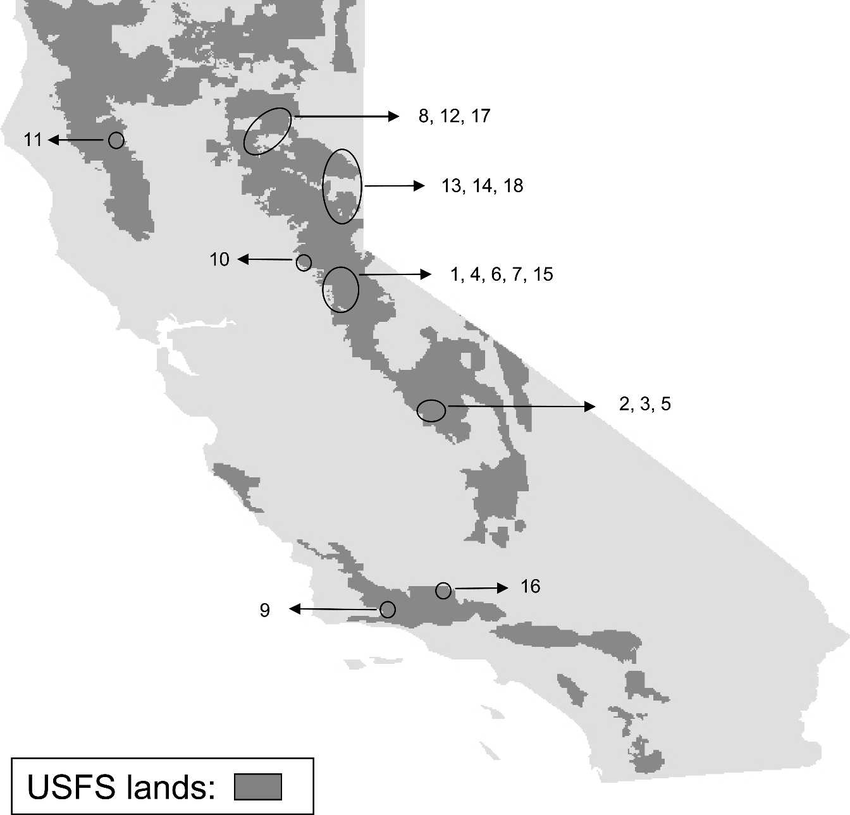 Locations of USFS sites evaluated for hantavirus exposure risk ...