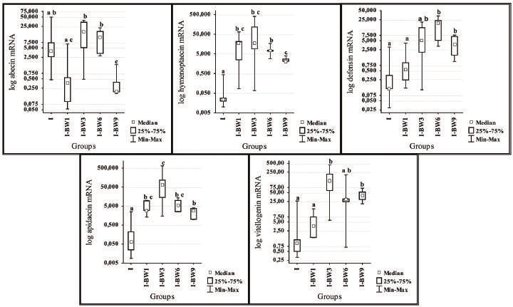 Expression levels of genes for abaecin, hymenoptaecin