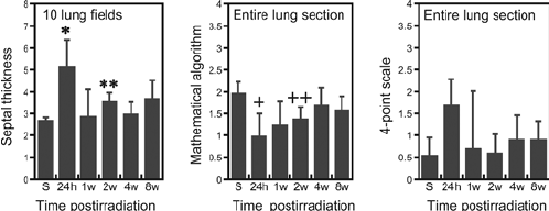 A comparison of lung injury assessed using the three