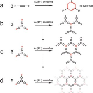(a) Large scale STM image of the 2D polymer network