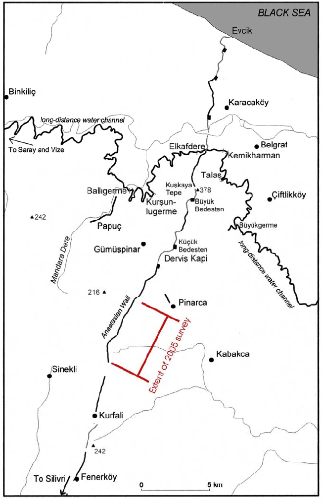 Map showing the northern part of Anastasian Wall and the