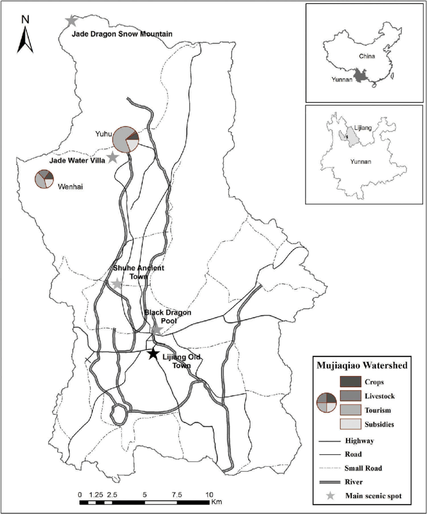 Map of the study site. The two villages studied are marked