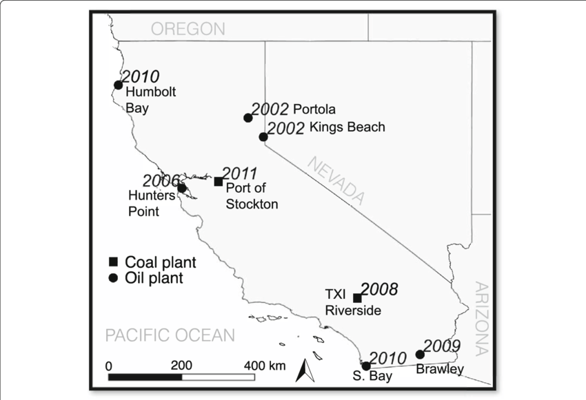 Location and names of 8 coal and oil power plants in