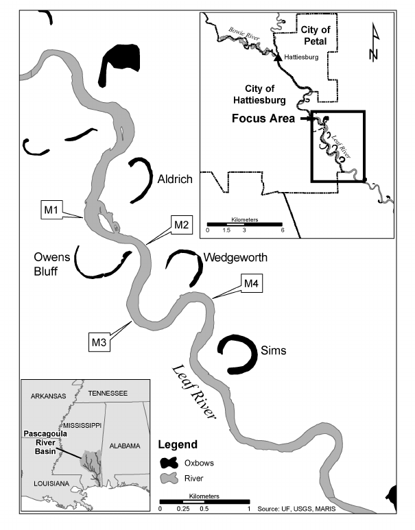 Map of the study area, showing the Leaf River near