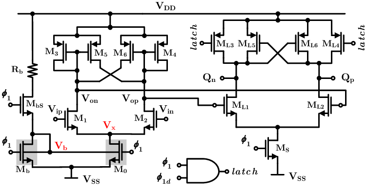 Electrical schematic of the differential preamplifier and