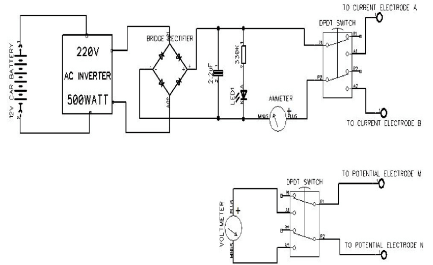 The schematic circuit diagram of the simple resistivity