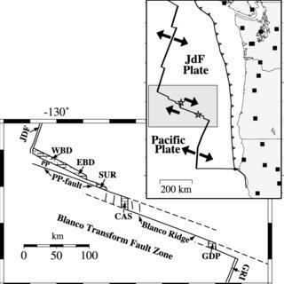 Schematic map of the Blanco Transform Fault Zone (BTFZ