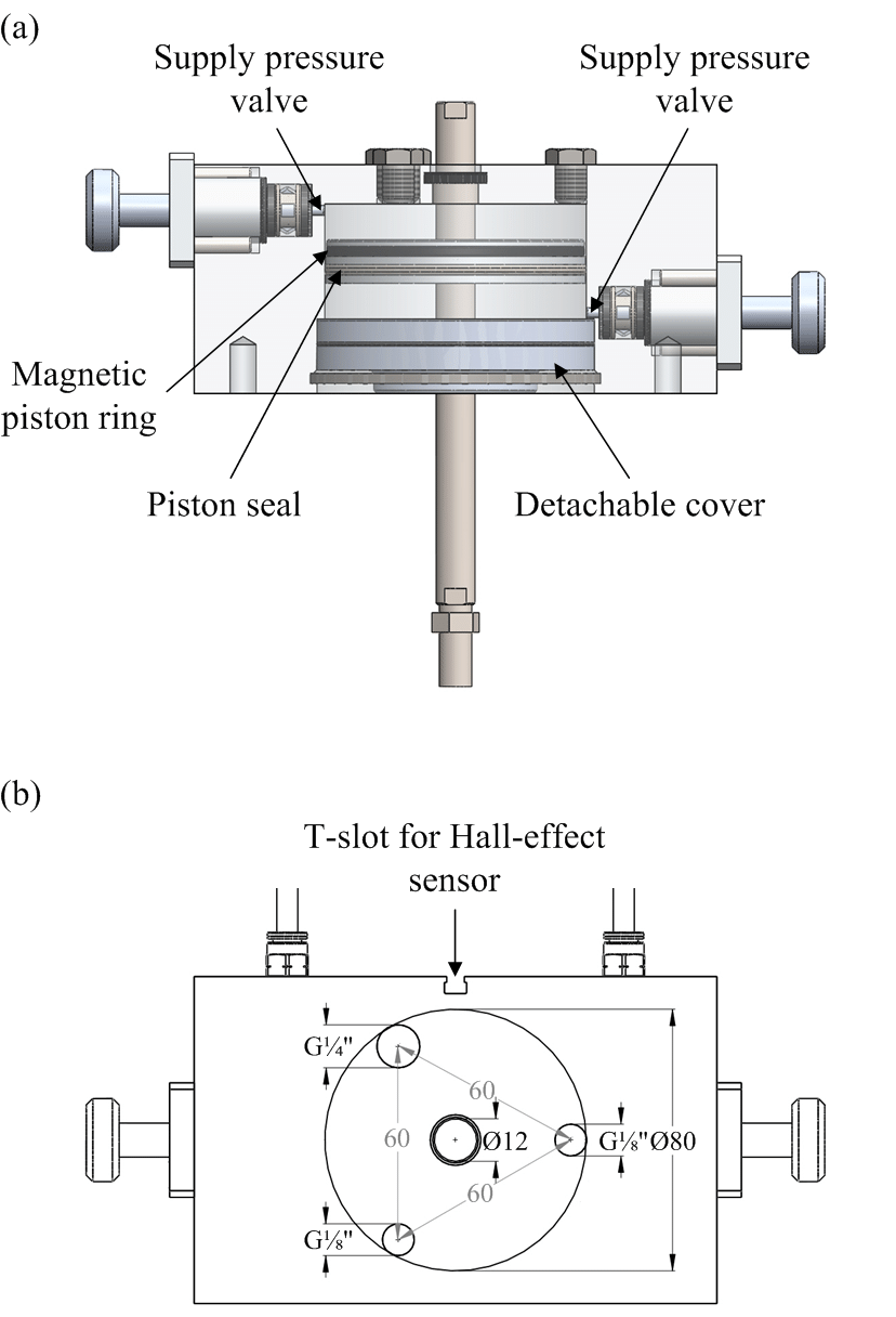 Schematic view of the developed double-acting pneumatic