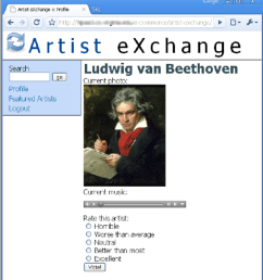 a screenshot of an artist exchange profile the musician has uploaded a photograph and a [ 850 x 930 Pixel ]