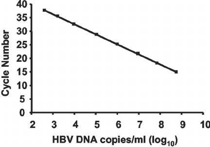 Linearity of the HBV LC-PCR assay. Quantitation results