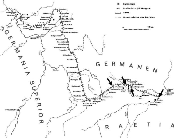 Geographic map of the Obergermanisch-raetischer Limes