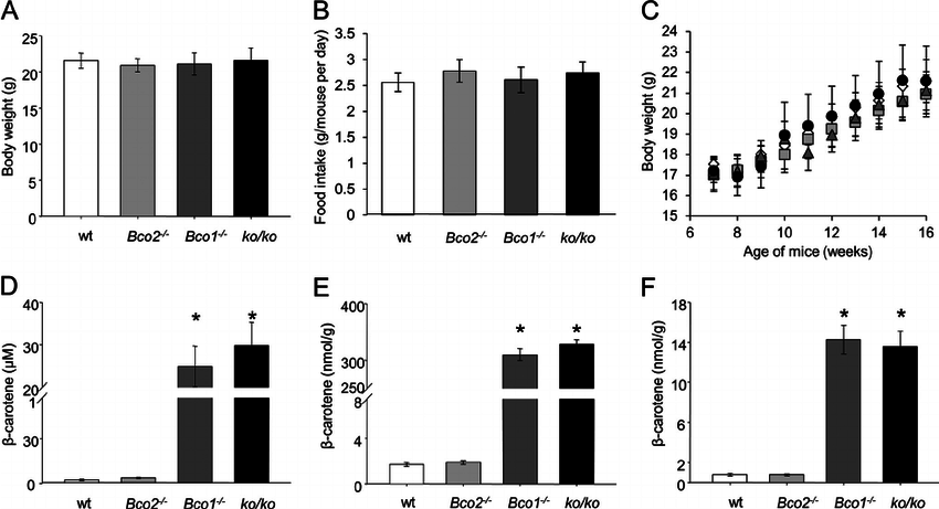 BC selectively accumulates in mice lacking BCO1. Six-week