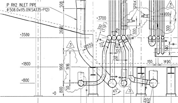 The lower header/manifold system on the first tube module