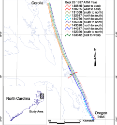 map showing the extent of the individual passes between corolla north carolina and oregon inlet [ 850 x 957 Pixel ]