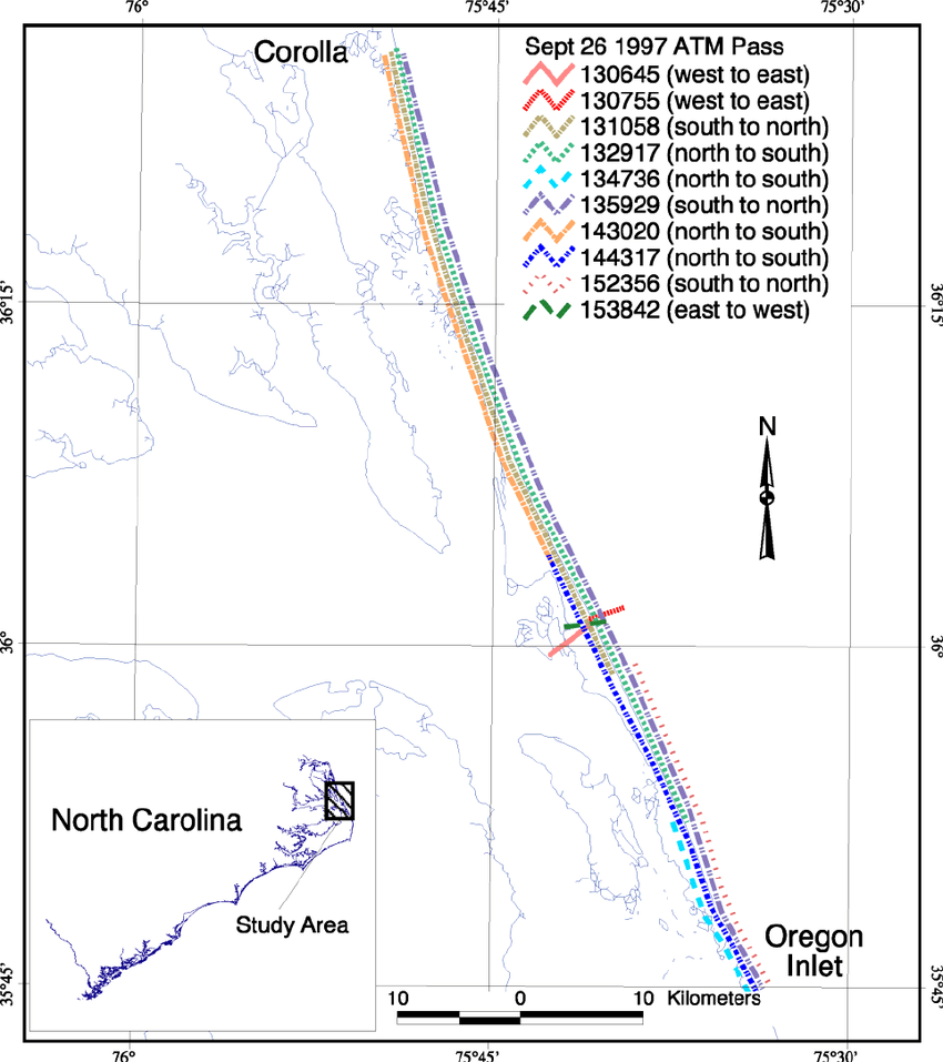 medium resolution of map showing the extent of the individual passes between corolla north carolina and oregon inlet